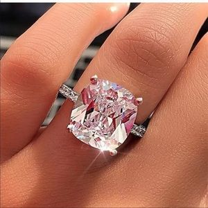 5.0 Carat White Sapphire Sterling Silver Ring